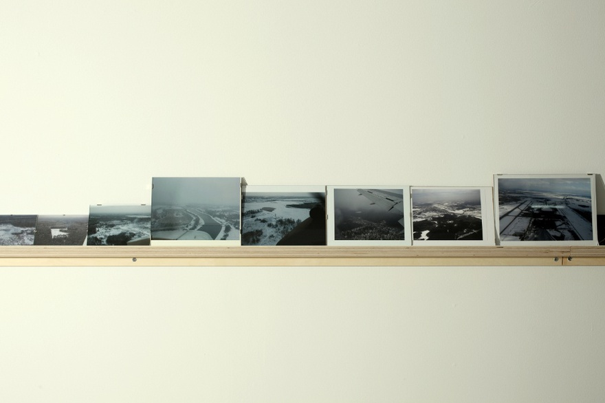 Vangelis Vlahos, Is There Any Oversight On Ocalan?, 2009-2011. 119 photos (variable dimensions) on a wall mounted shelf (23m). Installation view at The Breeder gallery, Athens, 2011.