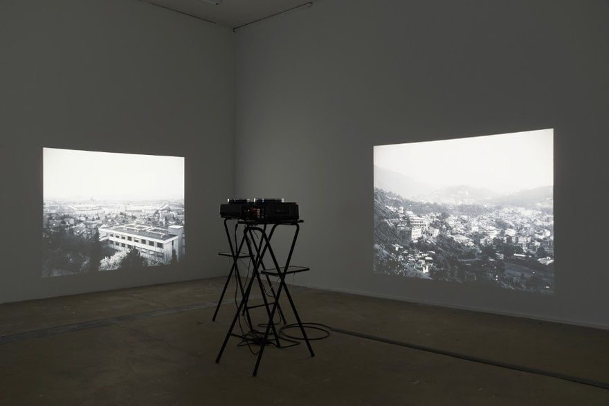 Eric Baudelaire, Site Displacement/Déplacement de Site, 2007. Installation view, La Photographie performe (The Body and the Archive), Centre Photographique d'Ile-de-France de Pontault-Combault, 2014.