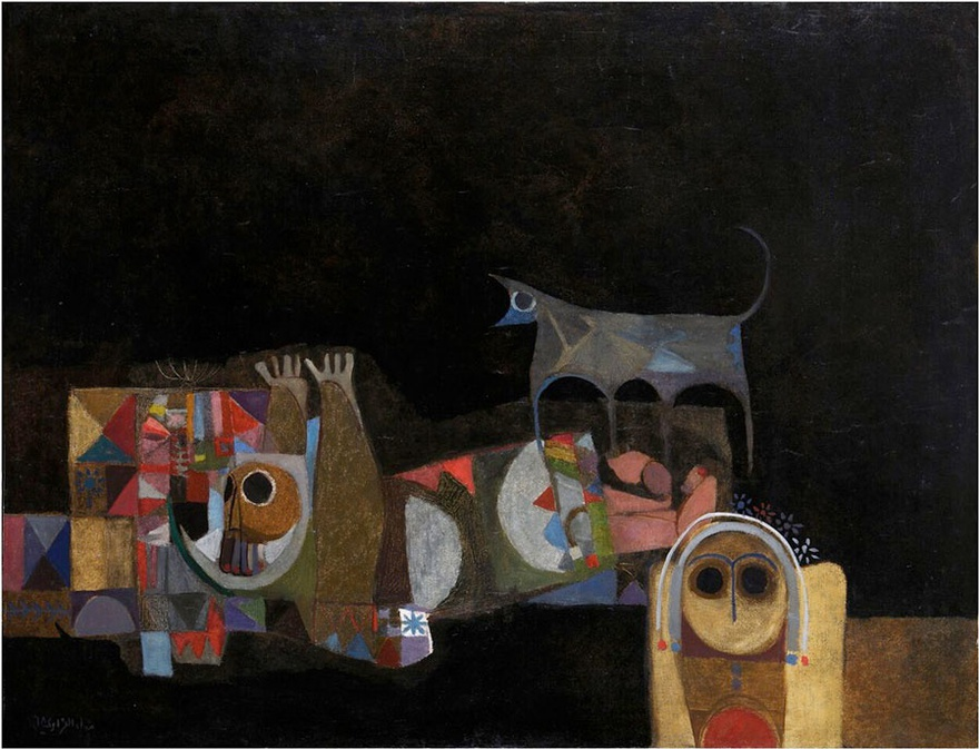 Dia Azzawi, A Wolf's Cry (Diaries of a Poet), 1968. Oil on canvas, 84cm x 108cm. Private collection, London.