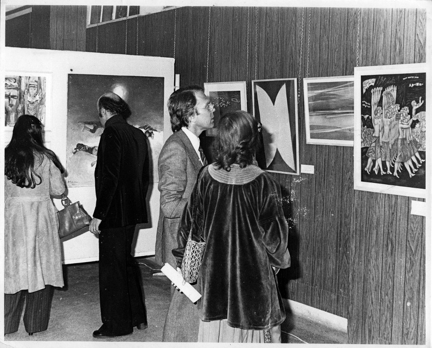 Exhibition opening of The International Art Exhibition for Palestine, Beirut Arab University, March 21, 1978.