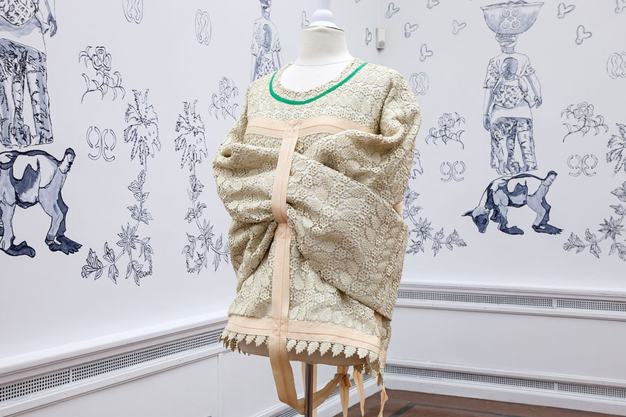 Godfried Donkor, Rebel Madonna Lace Collection, 2016. Installation, lace, clothes, mannequins, drawings. Dimensions variable. Installation view at EVA International – Ireland's Biennial 2016.