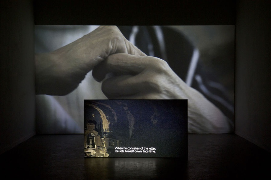 Hamza Halloubi, Late, 2015. Installation view  Rijksakademie Open, Rijksakademie, Amsterdam, Netherlands. Dual-channel video installation, 19 min, color, sound.
