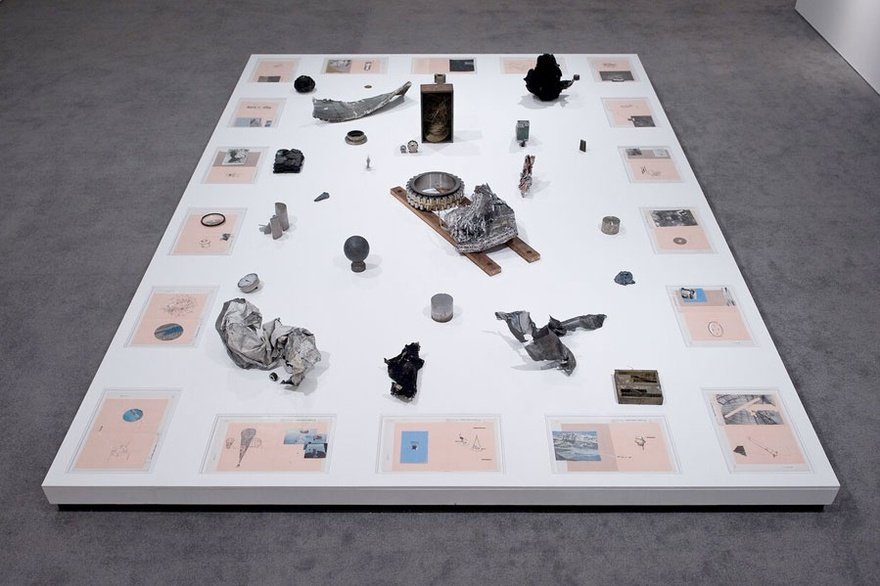 Hajra Waheed, The Cyphers 1-18, 2016. Found objects, cut photograph, xylene transfer, glass, ink, printed mylar and archival tape on paper, 24 cm x 43 cm (each). Installation view, BALTIC Centre for Contemporary Art, Gateshead, UK.