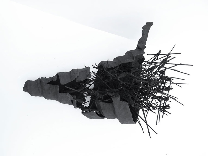 Walid Siti, Black Tower, 2016. Plastic figurines, paper, acrylic, plaster & twigs, size variable.