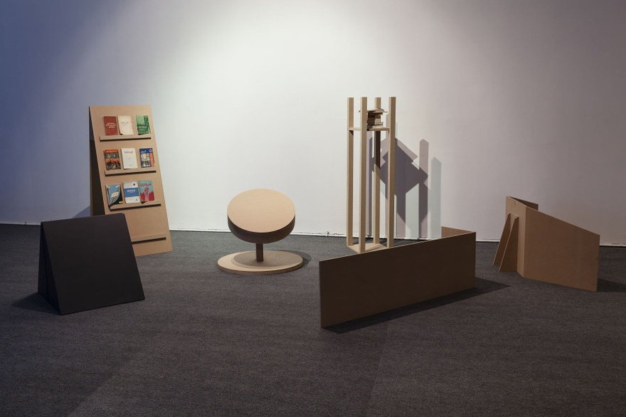 Marwa Arsanios, OLGA's NOTES, the library (installation view), 2013. Books and display.