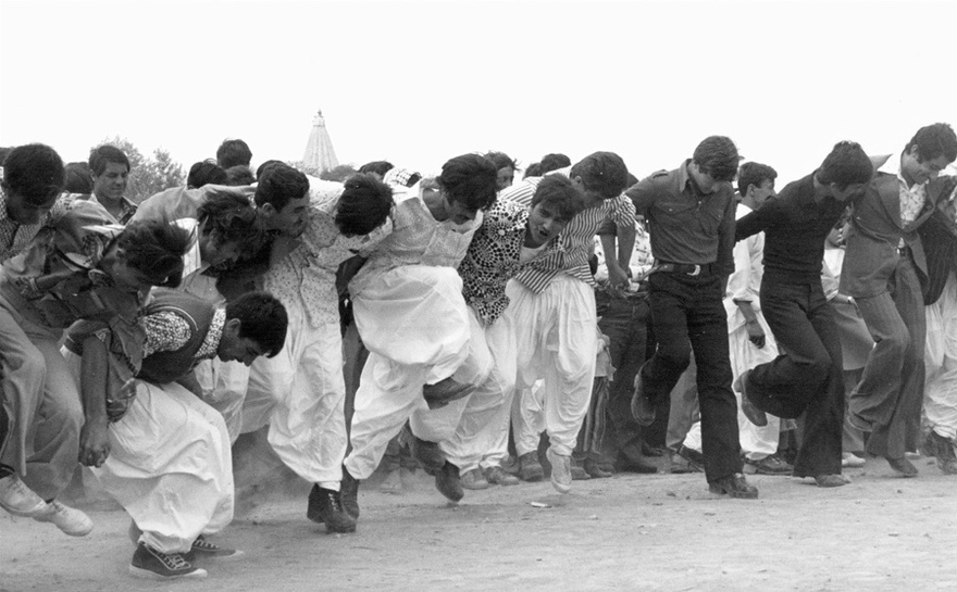 Photograph from the Chadirji collection showing Yazidis dancing during a celebration, north of Iraq.