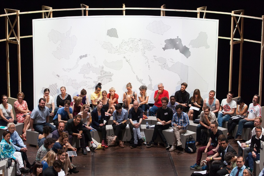 "New World Summit – Brussels, 2014. The backdrop of the parliament of the 4th New World Summit consists of an alternative world map, depicting all the unrecognized states represented in the program, as such forming a ""substructural"" world map, a history according to the stateless."