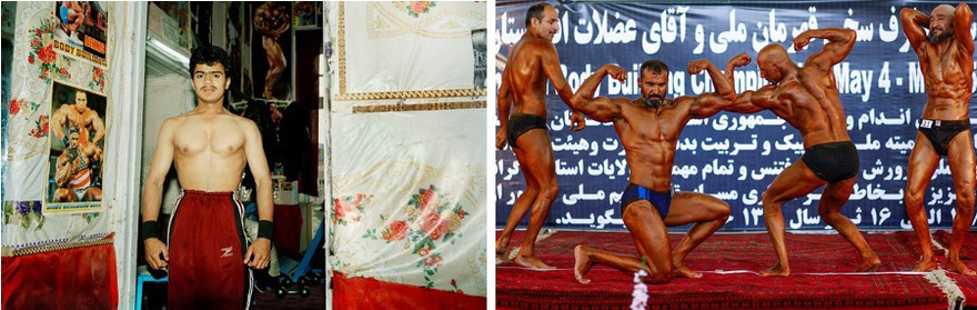 Left: Masood Kamandy, Afghanistan Series: Kabul Bodybuilder, Right: A bodybuilding competition at the Areyub Cinema in the western part of Kabul city. Hundreds of competitors enter the annual contest.