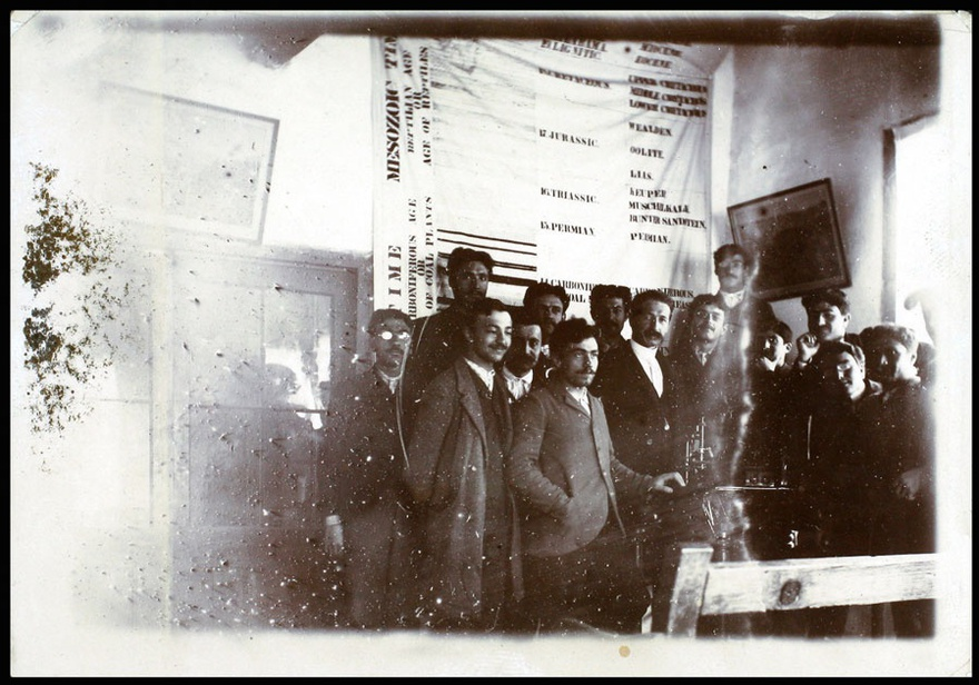 Prof. J. J. Manissadjian with his students, Merzifon, Turkey, date unknown.