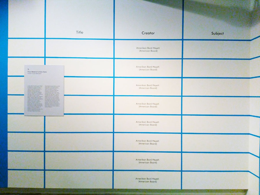 One wall in the exhibition space made to look like a cataloguing table. Exhibition view, Empty Fields, SALT Galata.