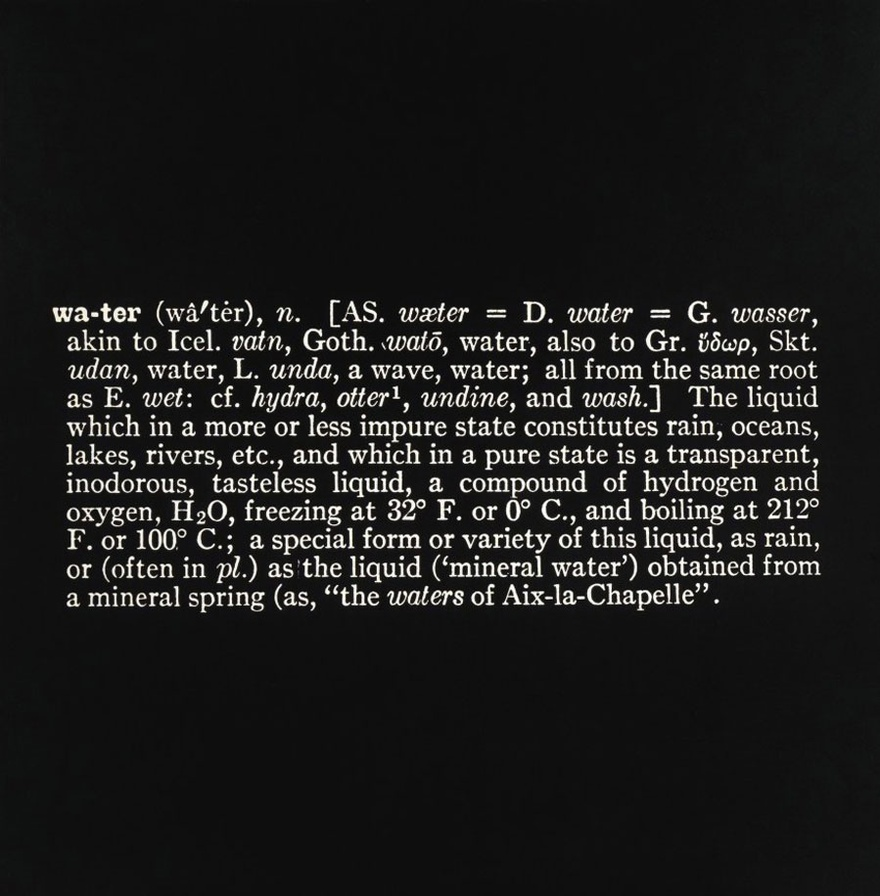 Joseph Kosuth, (Art as Idea as Idea) [Water], 1966. Photostat, mounted on board, 48 x 48 inches.