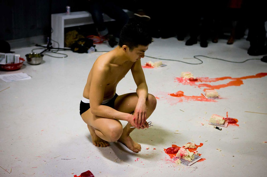 Loo Zihan, Cane, 2012. Live performance, documentation at the Substation Theatre, Singapore.