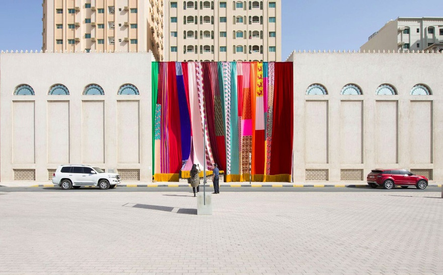 Joe Namy, Libretto-o-o: A Curtain Design in the Bright Sunshine Heavy with Love, 2017. Site-specific installation, curtain and stereo sound. Dimensions variable. Commissioned by Sharjah Art Foundation.