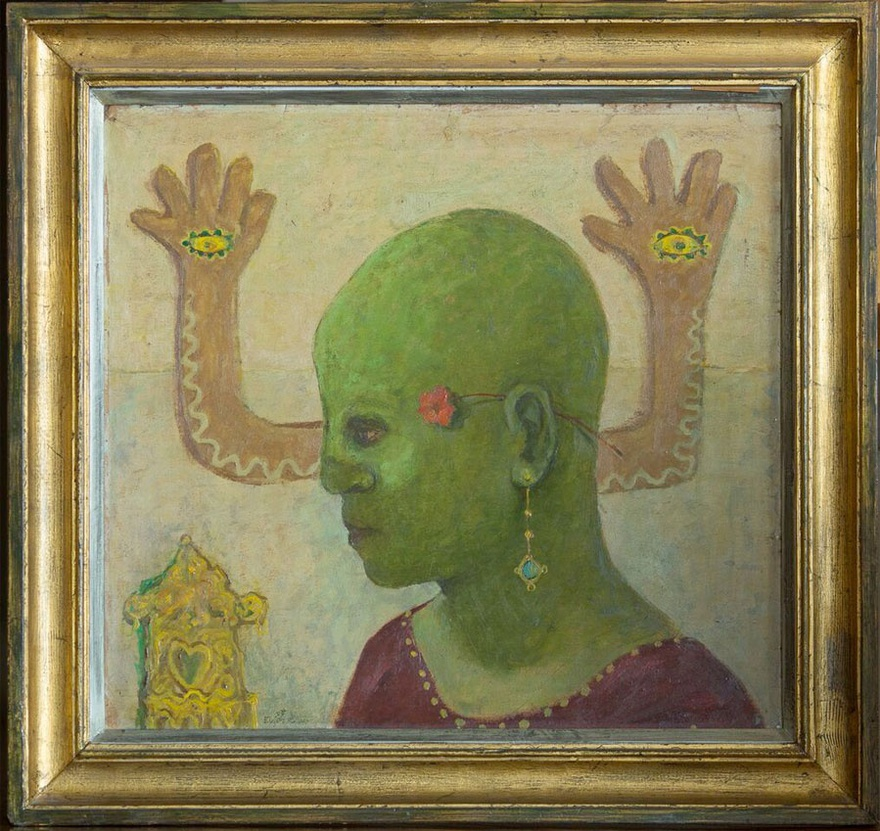 Abdel Hadi El-Gazzar, The Green Fool, 1951. Oil on cardboard, 63 x 70 cm.
