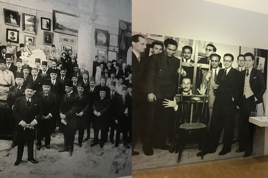 Left: Inauguration of the Salon du Caire, Societe des Amis de l'Art, 1927. Right: Members of the Art and Liberty group during the 1941 exhibition. Front (from left): Jean Moscatelli, Kamel El-Tilmissany, Angelo de Riz, Ramses Younane, Fouad Kamel, Back (form left to right): Albert Cossery, unidentified, Georges Henein, Maurice Fahmy, Raoul Curiel.