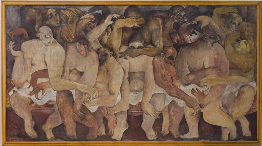 Rateb Seddik, Untitled, 1940. Oil on wood, 120 x 220 cm.