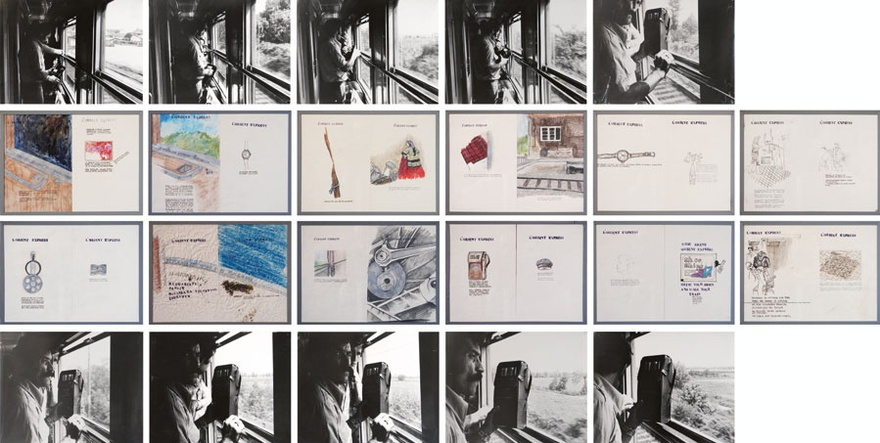 Nil Yalter, Orient Express, 1976. Installation with video, drawings, photographs and polaroids, 10 black and white photos (unique) and 12 drawings (diptych) on graph paper, 28 x 36 cm (photos); 28 x 18 cm (drawings), 16 mm polyester Kodak Colour film 13' 53'', The Sammlung Verbund, Vienna 7-part work (polaroid, pencil, coloured pencil and stamp) 26 x 71,5 cm (each).
